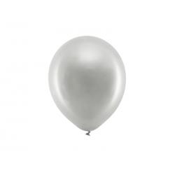 Balony Rainbow 23cm metalizowane, srebrny (1 op. / 100 szt.)