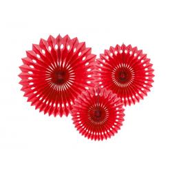Rozety dekoracyjne, czerwony, 20-30cm (1 op. / 3 szt.)