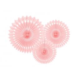 Rozety dekoracyjne, j. p. róż, 20-30cm (1 op. / 3 szt.)