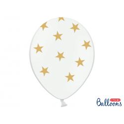 Balony 30cm, Gwiazdki, Pastel Pure White (1 op. / 6 szt.)