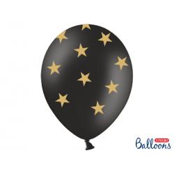 Balony 30cm, Gwiazdki, Pastel Black (1 op. / 6 szt.)