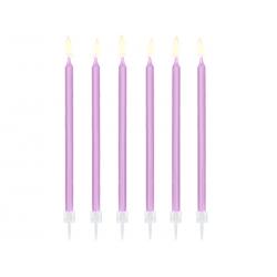 Świeczki urodzinowe gładkie, jasny liliowy, 14cm (1 op. / 12 szt.)