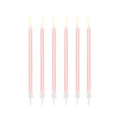 Świeczki urodzinowe gładkie, jasny różowy, 14cm (1 op. / 12 szt.)