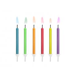 Świeczki urodzinowe Kolorowe Płomienie, mix (1 op. / 6 szt.)