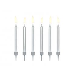 Świeczki urodzinowe gładkie, srebrny, 6cm (1 op. / 6 szt.)