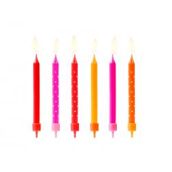 Świeczki urodzinowe Kolorowe, mix, 6,5cm (1 op. / 6 szt.)