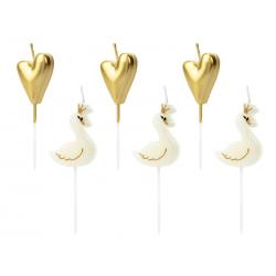 Świeczki urodzinowe Lovely Swan, mix, 3,5-4cm (1 op. / 6 szt.)
