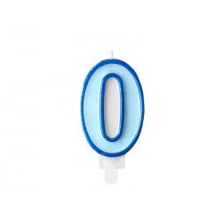 Świeczka urodzinowa Cyferka 0, niebieski, 7cm