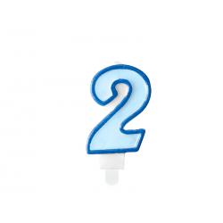Świeczka urodzinowa Cyferka 2, niebieski, 7cm