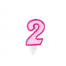 Świeczka urodzinowa Cyferka 2, różowy, 7cm