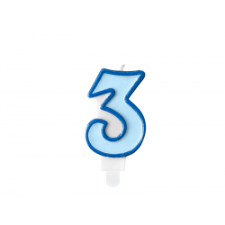 Świeczka urodzinowa Cyferka 3, niebieski, 7cm