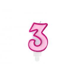 Świeczka urodzinowa Cyferka 3, różowy, 7cm