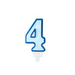 Świeczka urodzinowa Cyferka 4, niebieski, 7cm