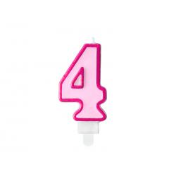 Świeczka urodzinowa Cyferka 4, różowy, 7cm