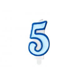 Świeczka urodzinowa Cyferka 5, niebieski, 7cm