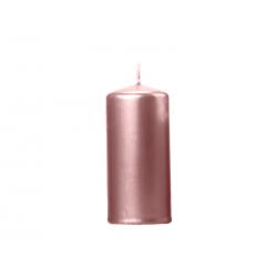 Świeca klubowa metalizowana, różowe złoto, 12x6cm (1 op. / 6 szt.)
