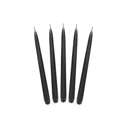 Świeca stożkowa matowa, czarny, 24cm (1 op. / 10 szt.)