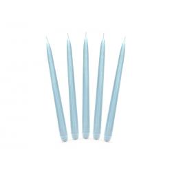 Świeca stożkowa matowa, błękit, 24cm (1 op. / 10 szt.)