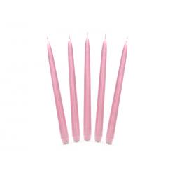 Świeca stożkowa matowa, j. różowy, 24cm (1 op. / 10 szt.)