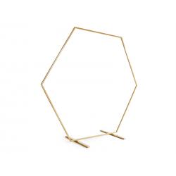 Stojak na tło heksagon, złoty, 2m