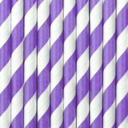 Słomki papierowe, liliowy, 19,5cm (1 op. / 10 szt.)