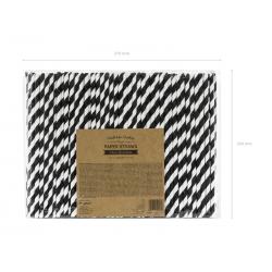 Słomki papierowe, czarny, 19.5cm (1 op. / 250 szt.)