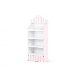 Stand papierowy, różowo-białe paski