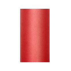 Tiul gładki, czerwony, 0,15 x 9m (1 szt. / 9 mb.)