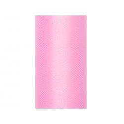 Tiul gładki, j. różowy, 0,15 x 9m (1 szt. / 9 mb.)