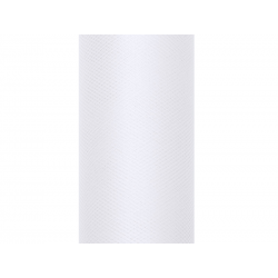 Tiul gładki, biały, 0,3 x 9m (1 szt. / 9 mb.)