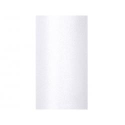 Tiul glittery, biały, 0,15 x 9m (1 szt. / 9 mb.)
