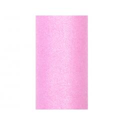 Tiul glittery, j. różowy, 0,15 x 9m (1 szt. / 9 mb.)