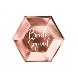 Talerzyki Bride squad, różowe złoto, 23cm (1 op. / 6 szt.)