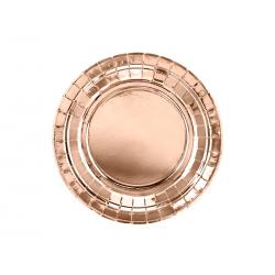 Talerzyki okrągłe, różowe złoto, 18cm (1 op. / 6 szt.)