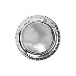 Talerzyki okrągłe, srebrny, 23cm (1 op. / 6 szt.)
