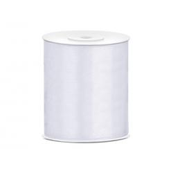 Tasiemka satynowa, biały, 100mm/25m (1 szt. / 25 mb.)