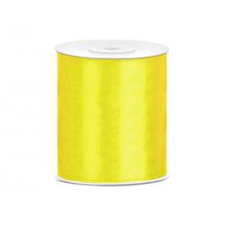 Tasiemka satynowa, żółty, 100mm/25m