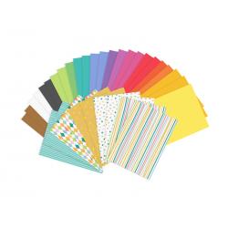 Zestaw papierów kolorowych - wycinanki, A4, mix, 34 arkusze