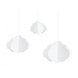 Zawieszki Chmurki, biały, 17-28cm (1 op. / 3 szt.)