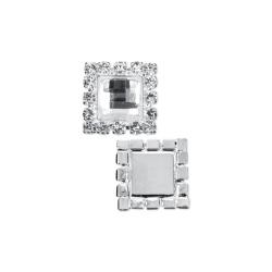 Aplikacje z kamieniem, srebrny, 15 x 15mm (1 op. / 2 szt.)