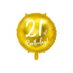 Balon foliowy 21st Birthday, złoty, 45cm