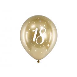 Balony Glossy 30cm, 18, złoty (1 op. / 6 szt.)