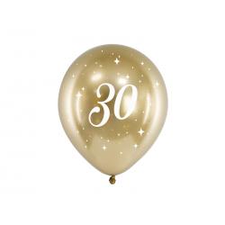 Balony Glossy 30cm, 30, złoty (1 op. / 6 szt.)