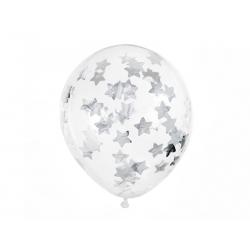 Balony z konfetti - gwiazdki, 30cm, srebrny (1 op. / 6 szt.)