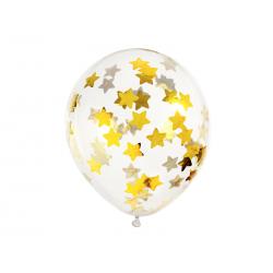 Balony z konfetti - gwiazdki, 30cm, złoty (1 op. / 6 szt.)