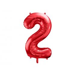 Balon foliowy Cyfra ''2'', 86cm, czerwony