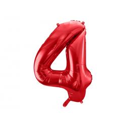 Balon foliowy Cyfra ''4'', 86cm, czerwony