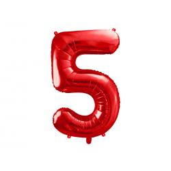 Balon foliowy Cyfra ''5'', 86cm, czerwony