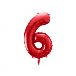 Balon foliowy Cyfra ''6'', 86cm, czerwony
