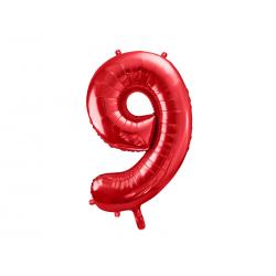 Balon foliowy Cyfra ''9'', 86cm, czerwony
